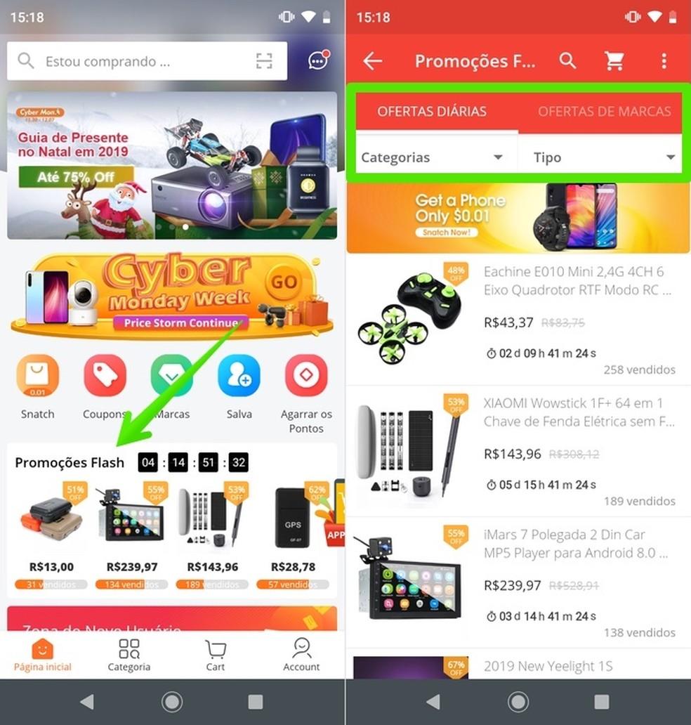 Página principal de promoções e produtos em destaque do Banggood — Foto: Reprodução/Helito Beggiora