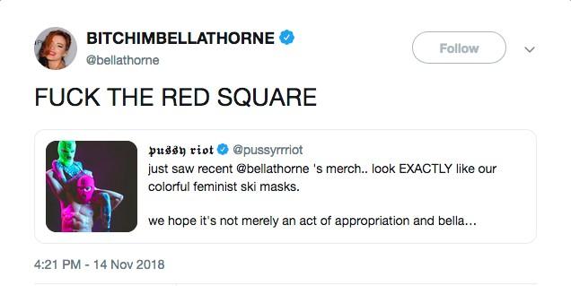 A resposta da atriz Bella Thorne ao convite feito pelo Pussy Riot para que ela fosse protestar na Praça Vermelha (Foto: Twitter)