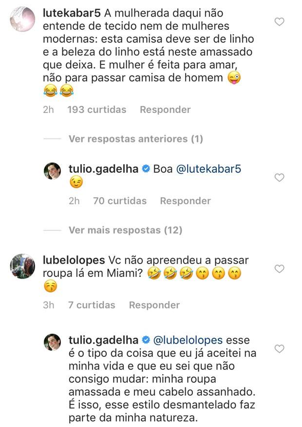 Tulio Gadelha responde seguidora (Foto: Reprodução Instagram)