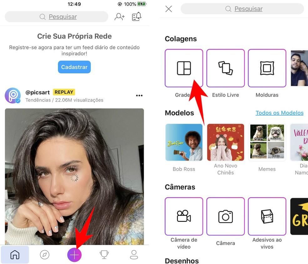 PicsArt permite criar montagens com modelos prontos — Foto: Reprodução/Rodrigo Fernandes