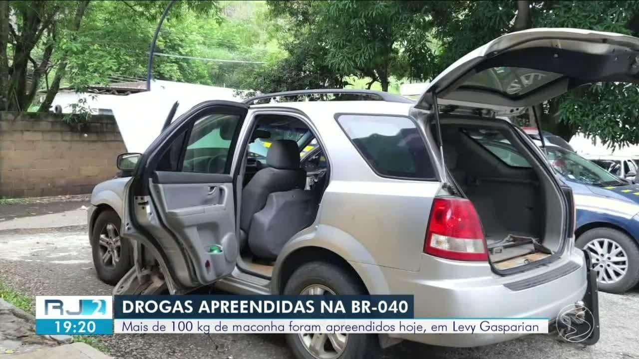 Homem é preso com mais de 100 kg de maconha na BR-040, em Levy Gasparian
