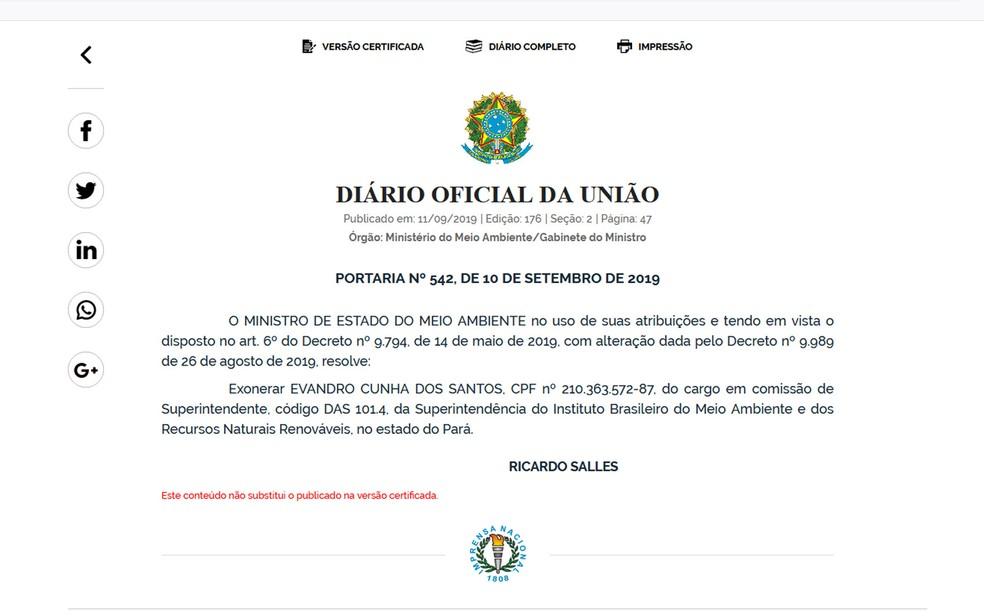 Ministério do Meio Ambiente exonera superintendente Evandro Cunha do Ibama no PA — Foto: Reprodução / Diário Oficial da União