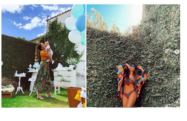 O quintal gramado da família serve para as festas e para as fotos de Thaís como blogueira no Instagram (Foto: Reprodução)