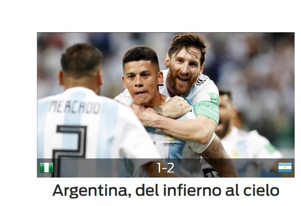 Sport Argentina x Nigéria (Foto: Reprodução)