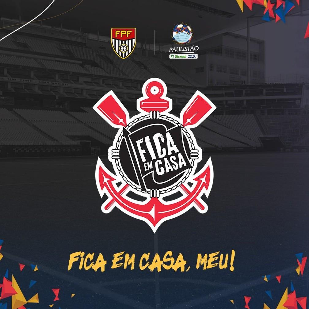 Corinthians adapta escudo em campanha contra o novo coronavírus — Foto: Reprodução Twitter