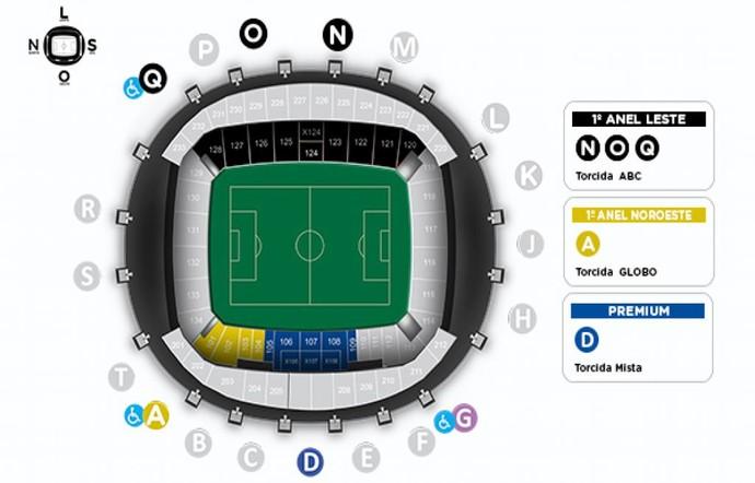Mapa Arena das Dunas ABC x Globo FC (Foto: Reprodução)