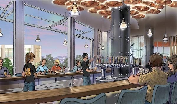 Esboço do bar da cervejaria Ballast Point em Downtown Disney