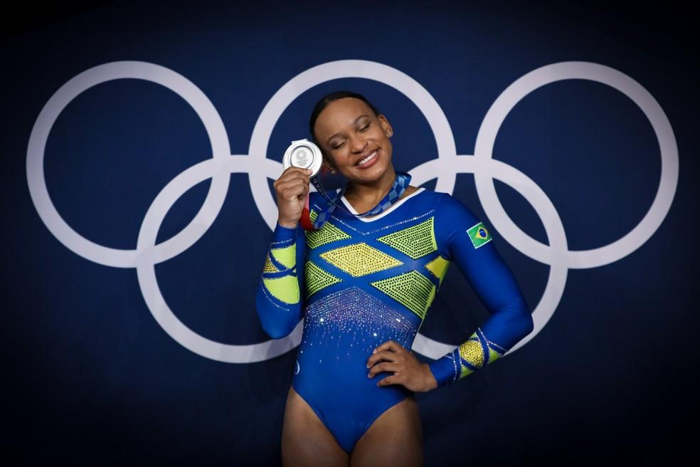 Rebeca Andrade é medalhista de prata — Foto: Ricardo Bufolin / Panamerica Press / CBG