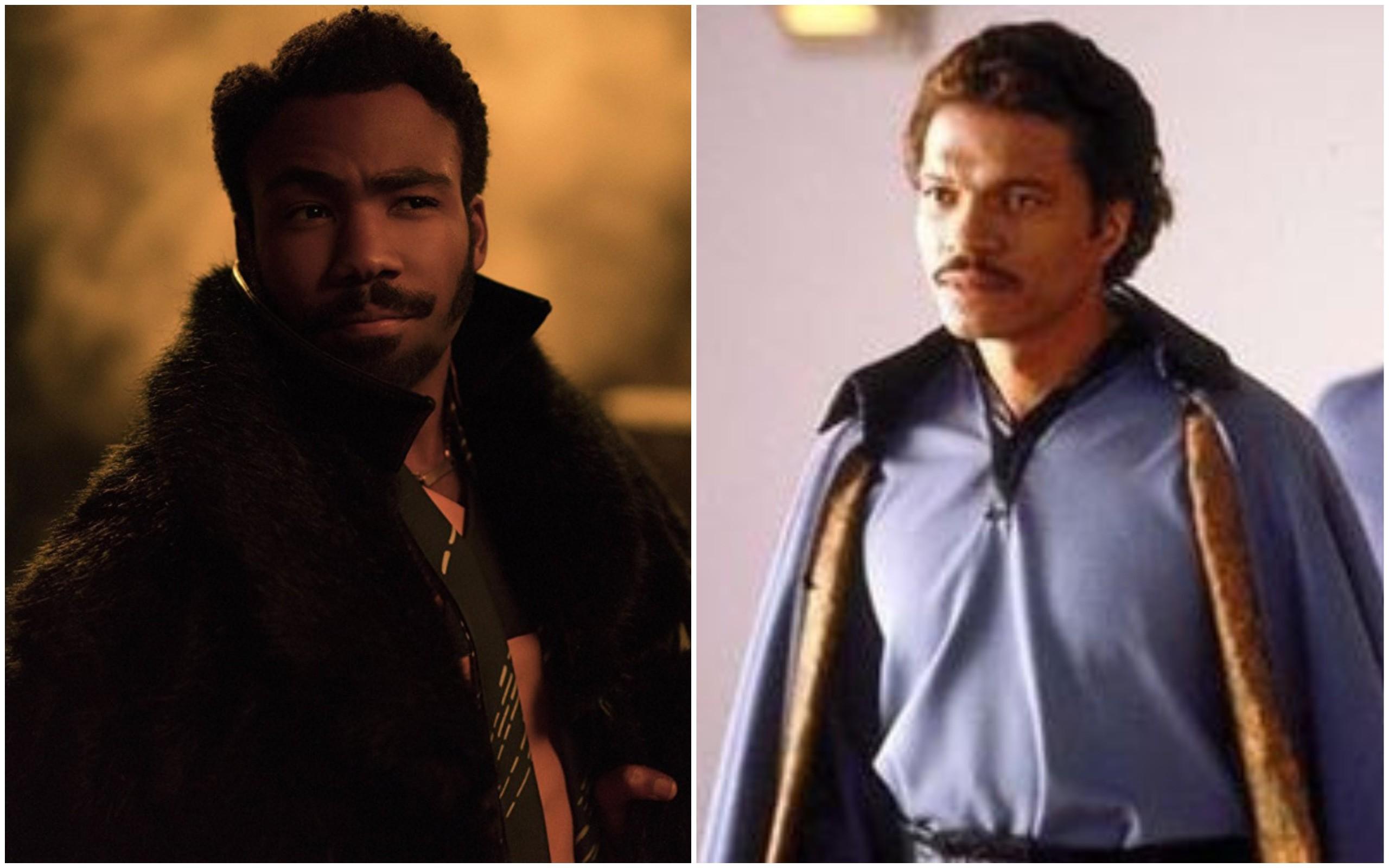 Donald Glover em 'Han Solo: Uma História Star Wars' (2018) e Billy Dee Williams em 'O Império Contra-Ataca' (1980) (Foto: Divulgação)