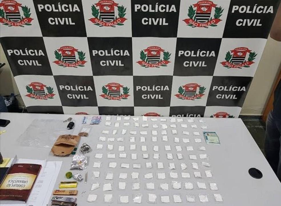 Droga apreendida pela Polícia  de São Sebastião da Grama no dia 3 de fevereiro (Foto: Polícia Civil/Divulgação)