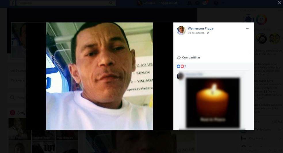 Wemerson Fraga de Oliveira, de 41 anos, chegou a ser socorrido mas morreu antes de chegar ao hospital (Foto: Reprodução / Facebook)