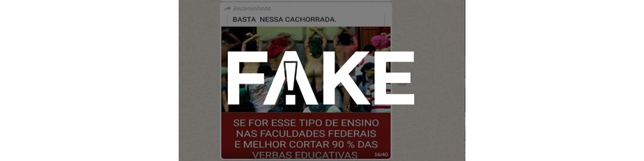 É #FAKE que foto mostra estudantes nus fazendo manifestação dentro de universidade