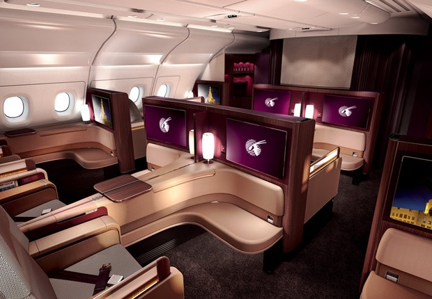 Cabine de primeira classe da Qatar Airways (Foto: Flickr/Qatar Airways)