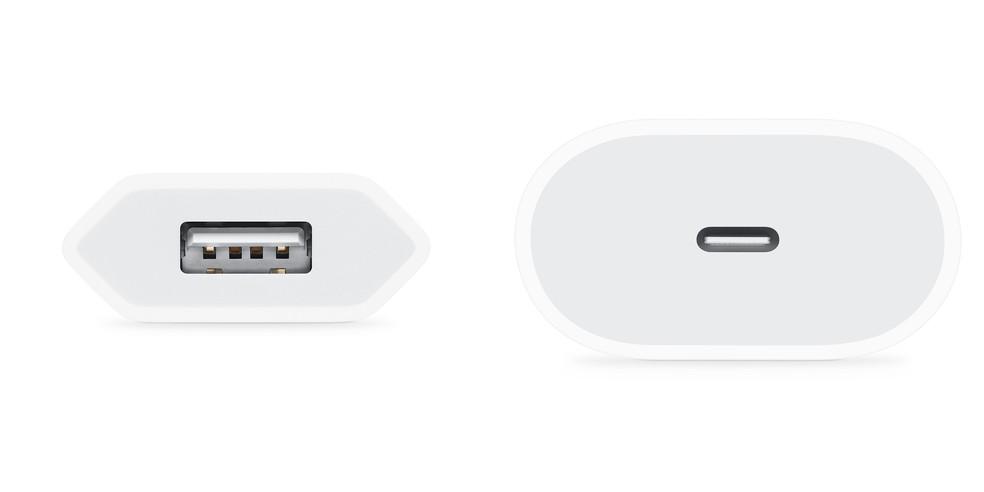 Carregador com entrada USB-A (esquerda) e carregador com entrada USB-C (direita). — Foto: Reprodução/Apple