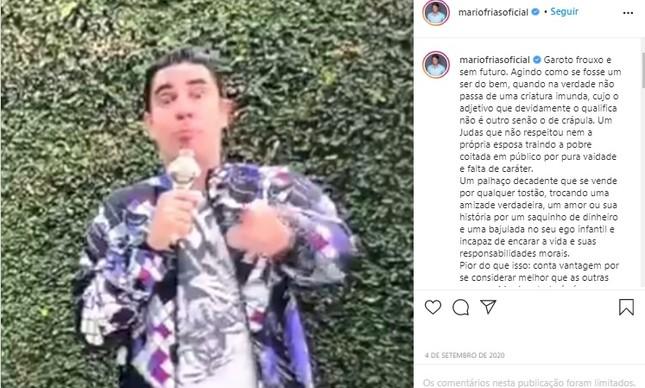 A postagem de Frias contra Adnet