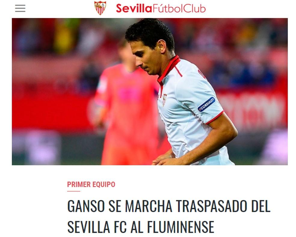 Sevilla confirma saída de Ganso em seu site oficial — Foto  Reprodução 3eb9298790e70