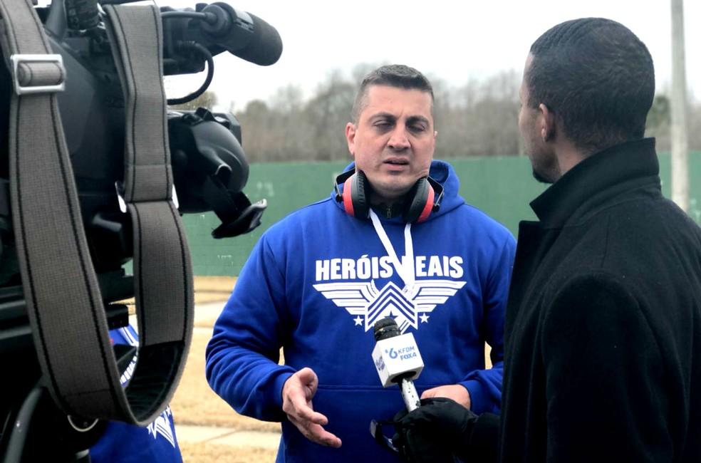 Taroco deu entrevistas durante a passagem pelo Texas (Foto: Arquivo pessoal)