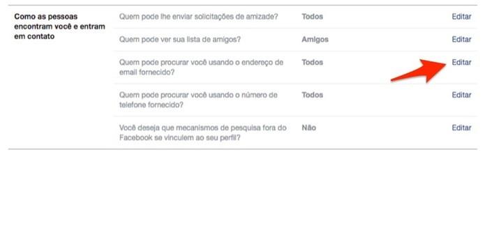Edite as configurações para busca ao usar um endereço de e-mail do Facebook (Foto: Reprodução/Marvin Costa)