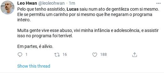 Internauta comenta saída de Lucas do 'BBB' 21 (Foto: Reprodução)