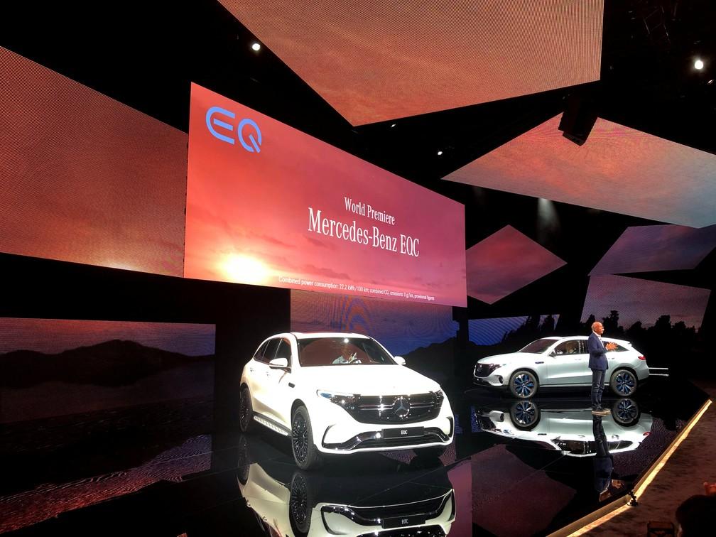 Mercedes-Benz apresenta seu primeiro SUV elétrico, o EQC — Foto: Esha Vaish/Reuters