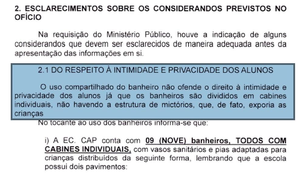 Trecho de documento enviado pela Secretaria de Educação do DF ao Ministério Público — Foto: SEEDF/Reprodução