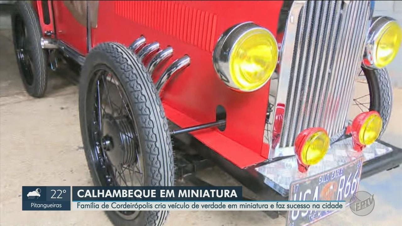 Família de Cordeirópolis, SP, faz sucesso na cidade com miniatura de Calhambeque