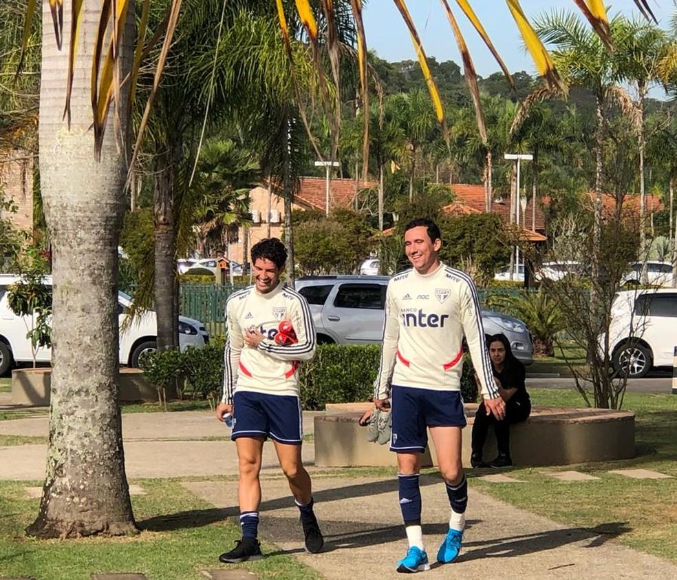Pato e Pablo podem jogar juntos pela primeira vez no São Paulo — Foto: Felipe Ruiz