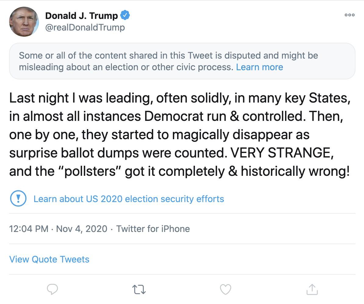 Sinalização na postagem de Trump