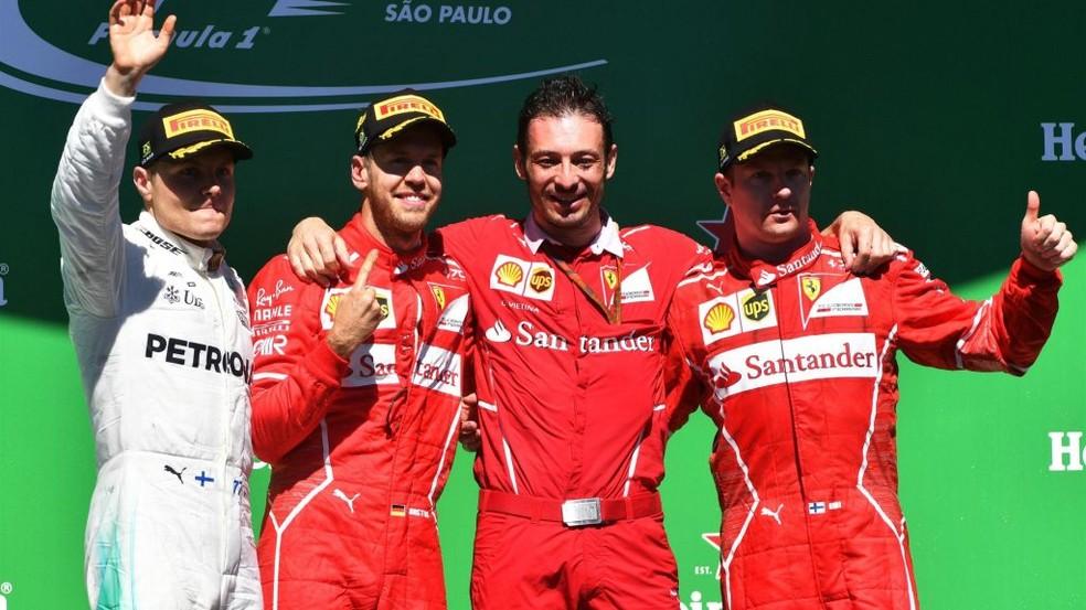 P1 - Vettel, P2 - Bottas, P3 - Raikkonen (Foto: Reprodução/Twitter)