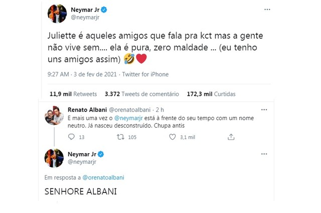 Posts de Neymar no Twitter (Foto: Reprodução)