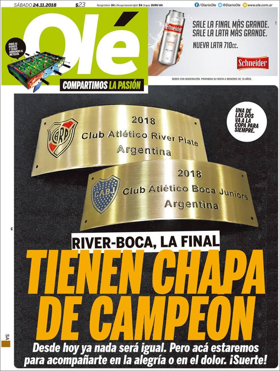 Capa Olé final Libertadores — Foto: Reprodução