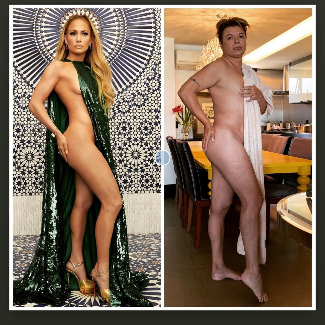 Dvaid Brazil copia look ousado de Jennifer Lopez  (Foto: Reprodução / Instagram)