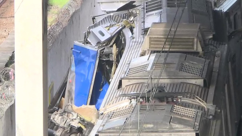 Acidente na Estação São Cristóvão da SuperVia — Foto: Reprodução/GloboNews