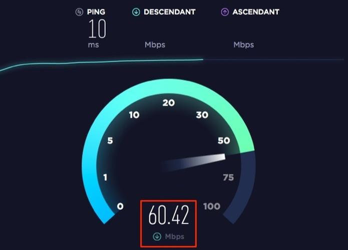 Velocidade de conexão registrada através de um serviço grátis da web (Foto: Reprodução/Marvin Costa)