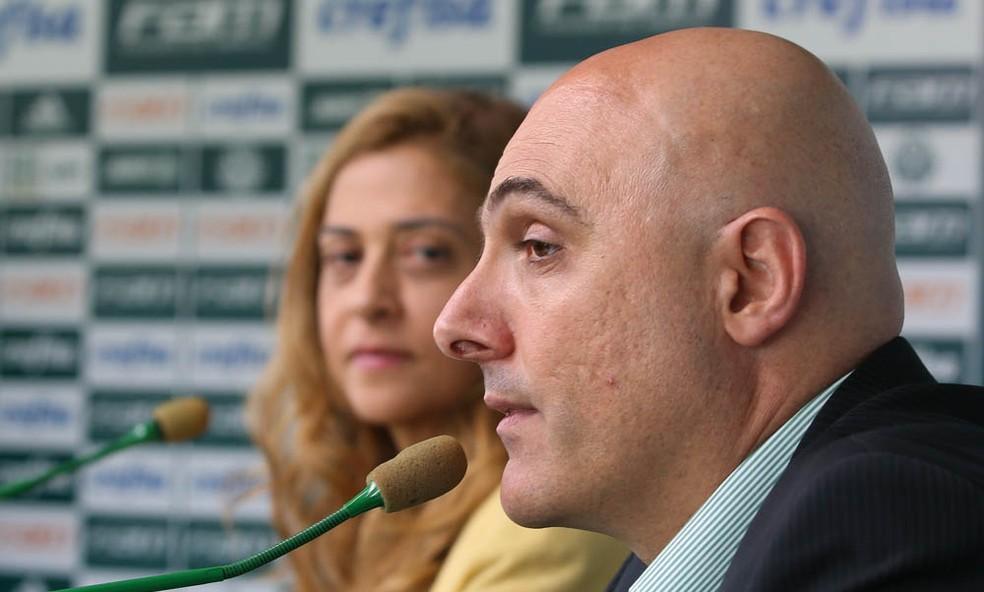 Maurício Galiotte e Leila Pereira em entrevista no Palmeiras (Foto: Cesar Greco/Ag. Palmeiras)