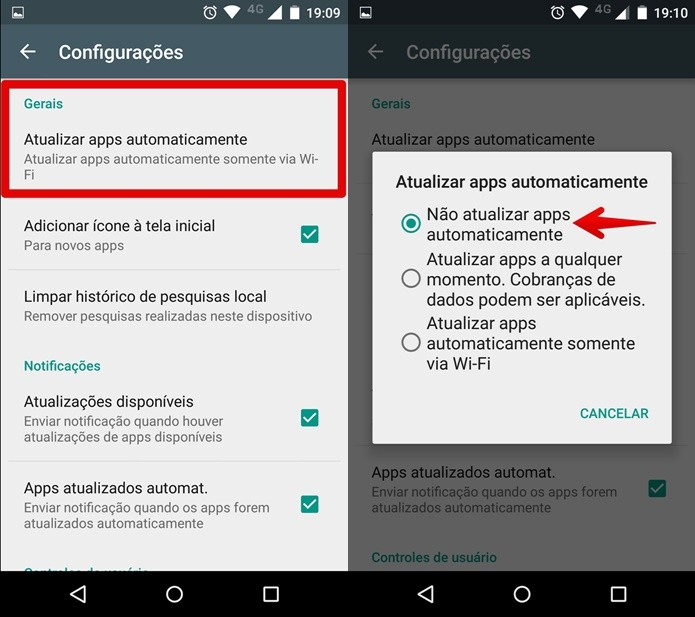 Desativando a atualização de apps automaticamente (Foto: Reprodução/Felipe Alencar)