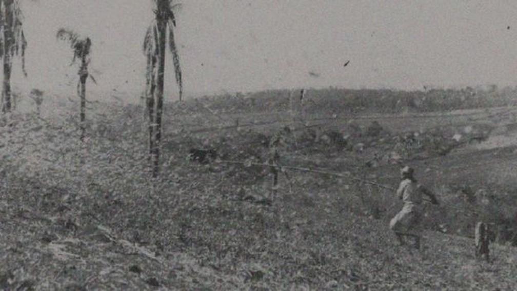 Agricultor combate infestação de gafanhotos no RS nos anos 1940 com vara de madeira — Foto: COLEÇÃO EDUARDO JAUNSEM, MADP/JUÍ