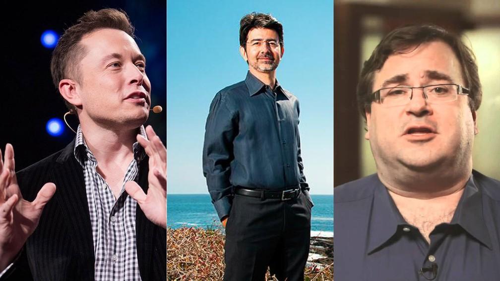 Elon Musk, Reid Hoffman e Pierre Omidyar, fundadores de Tesla, LinkedIn e eBay, respectivamente, são milionários que doaram dinheiro para tornar inteligência artificial mais segura. (Foto: Foto: TED / Divulgação / Reprodução)