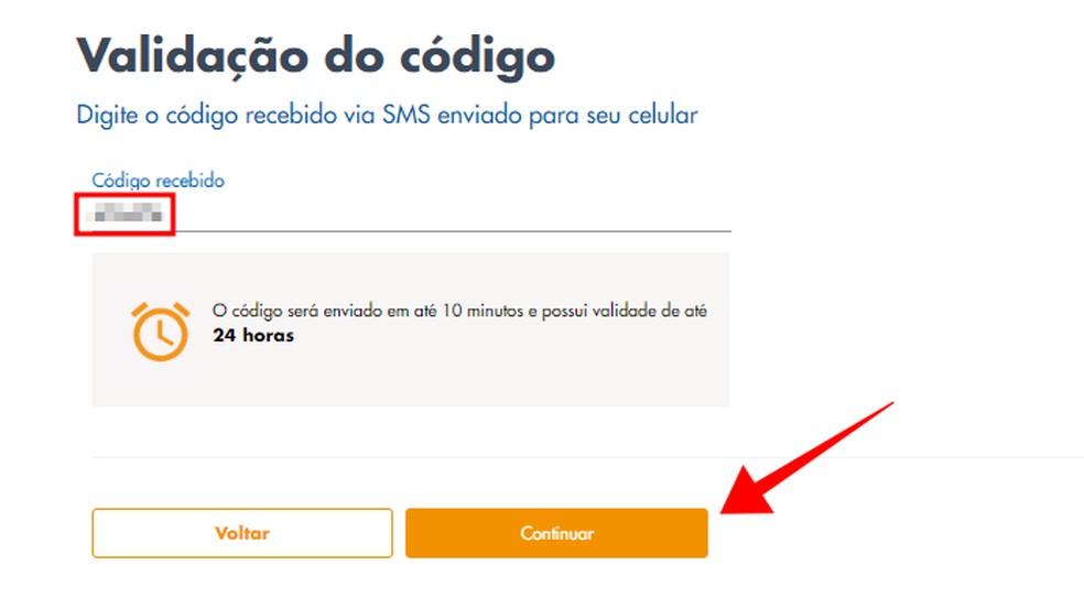 Digite o código recebido no celular — Foto: Reprodução/Paulo Alves