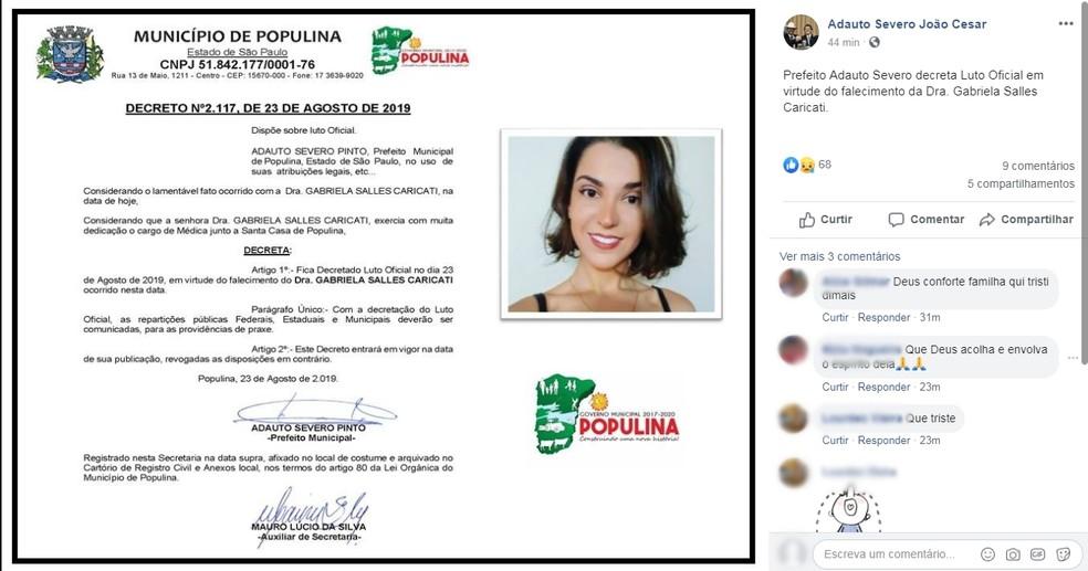 Prefeito Adauto Severo João Cesar (PPS) declarou luto oficial nesta sexta-feira em Populina  — Foto: Reprodução/Facebook