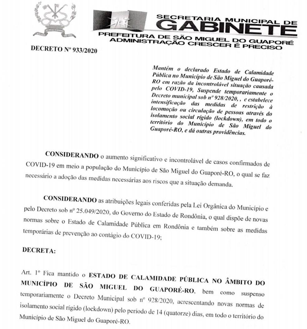 São Miguel do Guaporé decreta lockdown. — Foto: Reprodução/Prefeitura de São Miguel do Guaporé