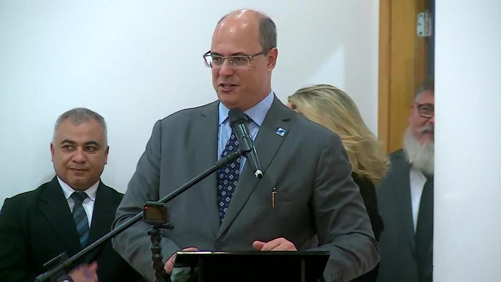 Wilson Witzel, governador do RJ durante cerimônia de posse do secretário de Polícia Civil — Foto: Reprodução/TV Globo