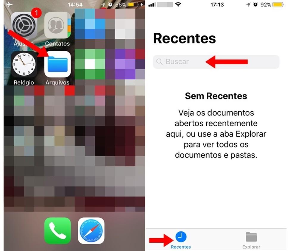 Acessando o app Arquivos do iOS 11 (Foto: Reprodução/Carolina Ribeiro)