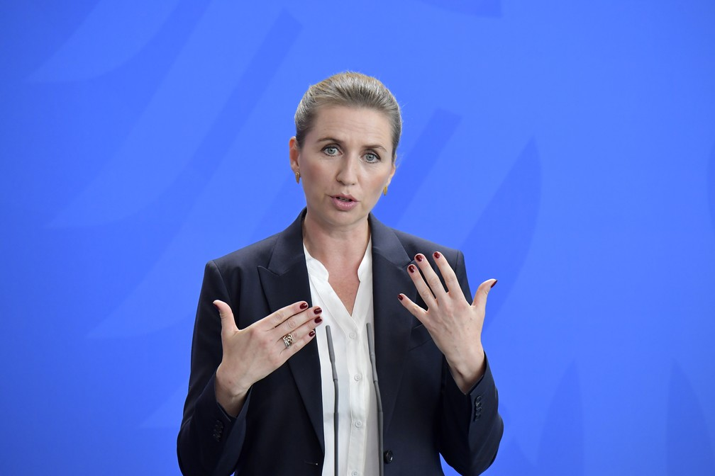 A primeira-ministra da Dinamarca, Mette Frederiksen — Foto: Tobias Schwarz / AFP
