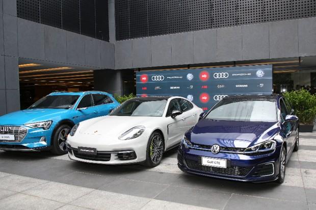 Audi e-tron Porsche Panamera Golf GTE recarregadores EDP ABB (Foto: Divulgação)