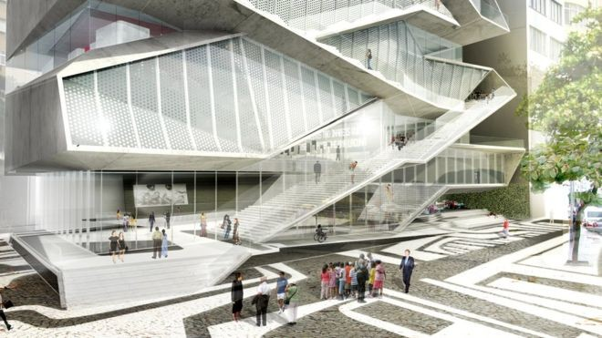 A fachada do MIS de acordo com projeto arquitetônico; previsão inicial era de que museu ficasse pronto em 2014 (Foto: DIVULGAÇÃO/DILLER SCOFIDIO + RENFRO (BBC NEWS))