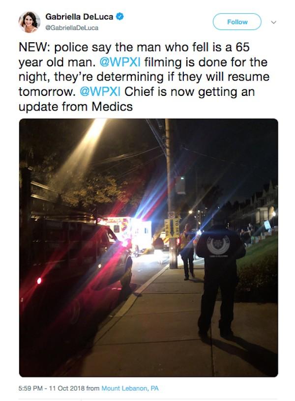 O relato de uma jornalista que registrou ambulâncias fazendo o resgato do homem acidentado no set do filme de Tom Hanks (Foto: Twitter)