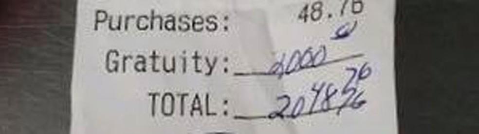 Casal deixa gorjeta de US$ 2 mil em restaurante nos EUA — Foto: Silver Street Tavern & Restaurant/Facebook
