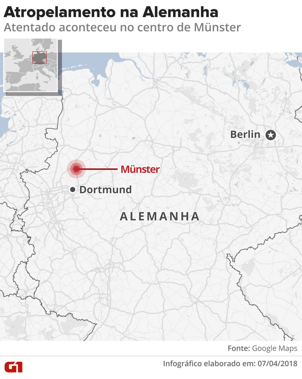 Mapa mostra localização de Münster na Alemanha (Foto: Alexandre Mauro/G1)