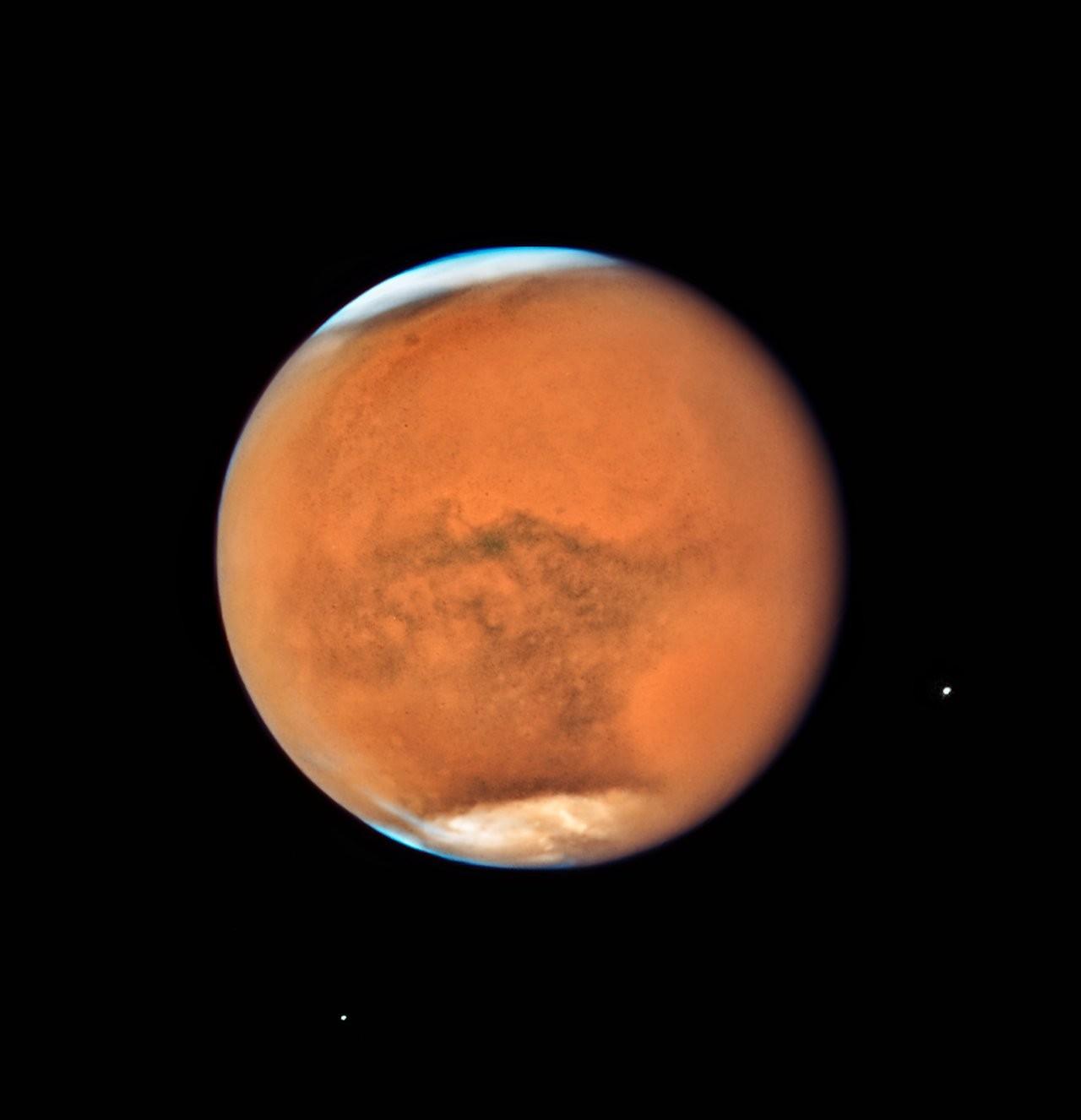 Marte fotografado pelo Hubble (Foto: Divulgação/ NASA e ESA)